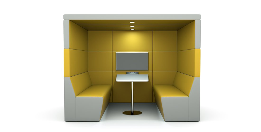 Citrus Seating 4 person office booth with back wall