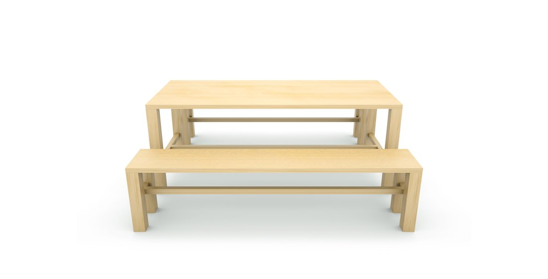 Citrus Seating Bob wooden table and bench