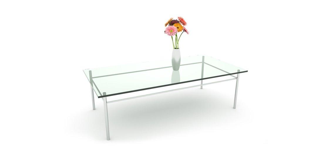 Citrus Seating Crystal rectangular glass table