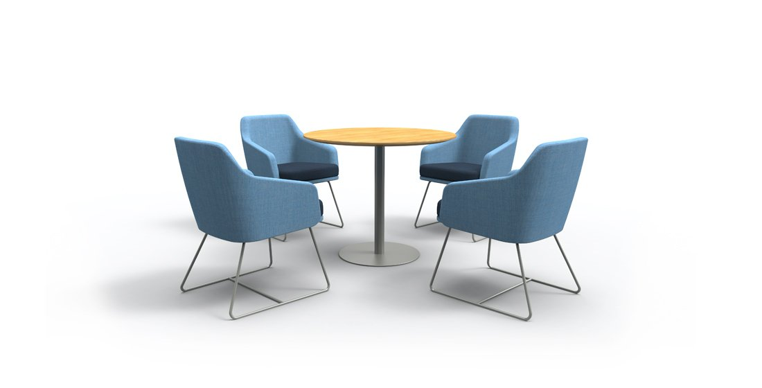 Citrus Seating Kay sled chairs with Abel tables