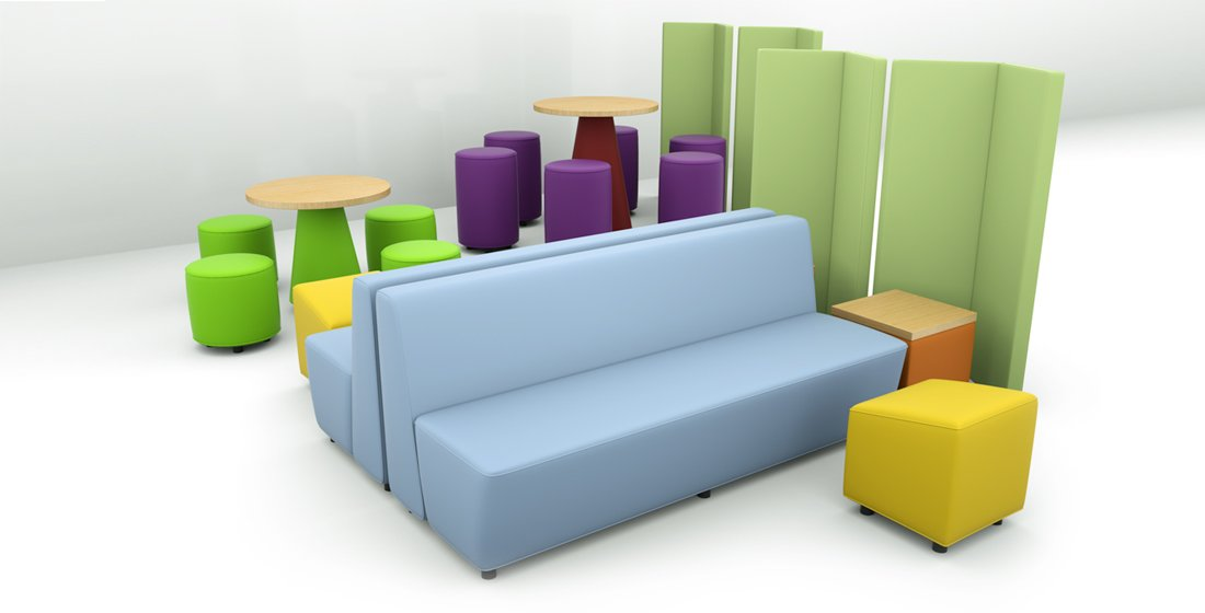 Citrus Seating Kitty - all 11 pieces featuring tables and modular seating