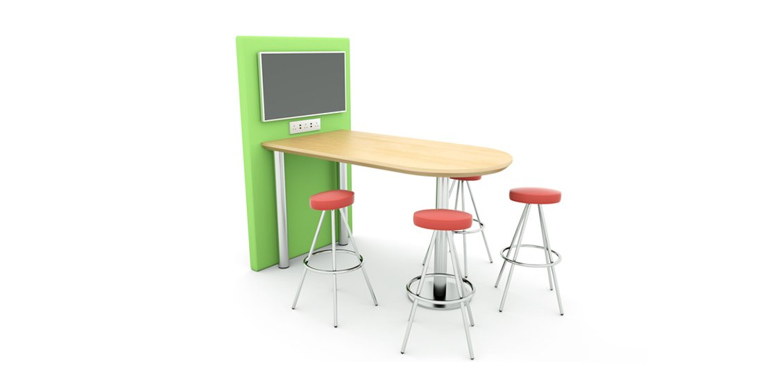 Citrus Seating Kitty table with workstation and screen - alongside Simon stool
