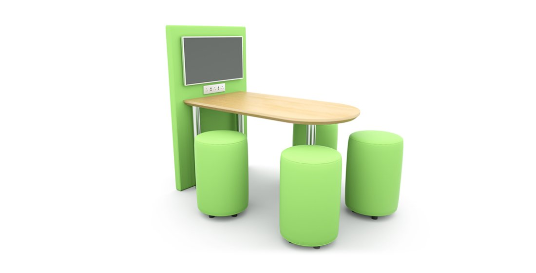 Citrus Seating Kitty table with workstation and screen - alongside Kitty stools