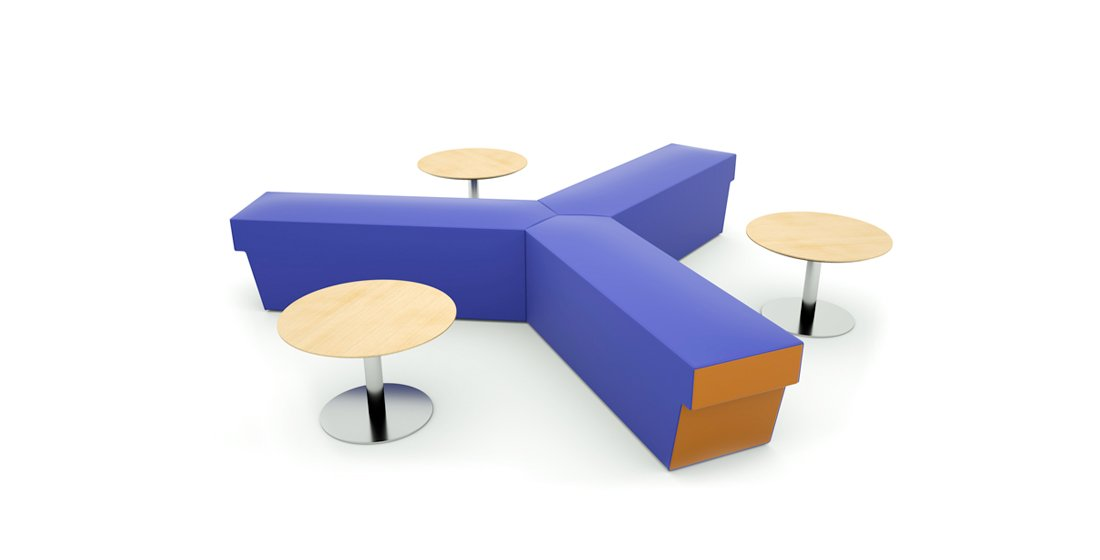 Citrus Seating Teresa three-pronged benches - alongside Abel coffee tables