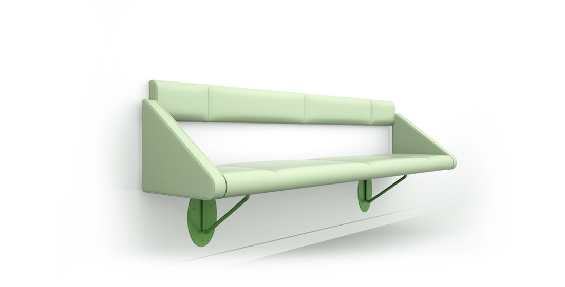 Citrus Seating Flo wall-mounted benches with back - addition arms shown