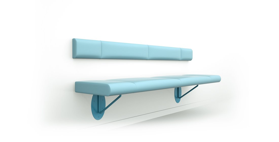 Citrus Seating Flo wall-mounted bench with back