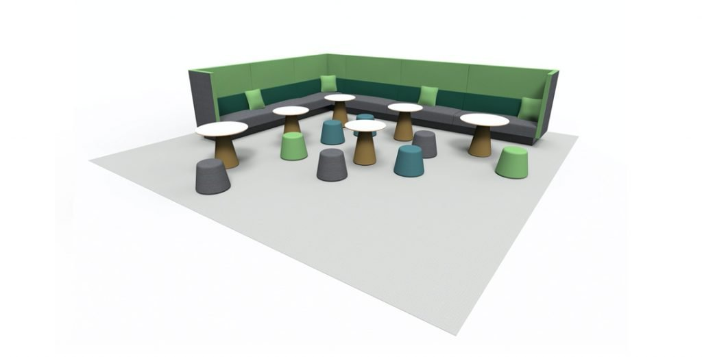 Citrus Seating Corner unit, with accompanying tables and stools