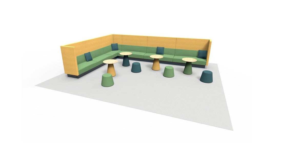 Citrus Seating Office Corner Seating with accompanying Tables and Stools