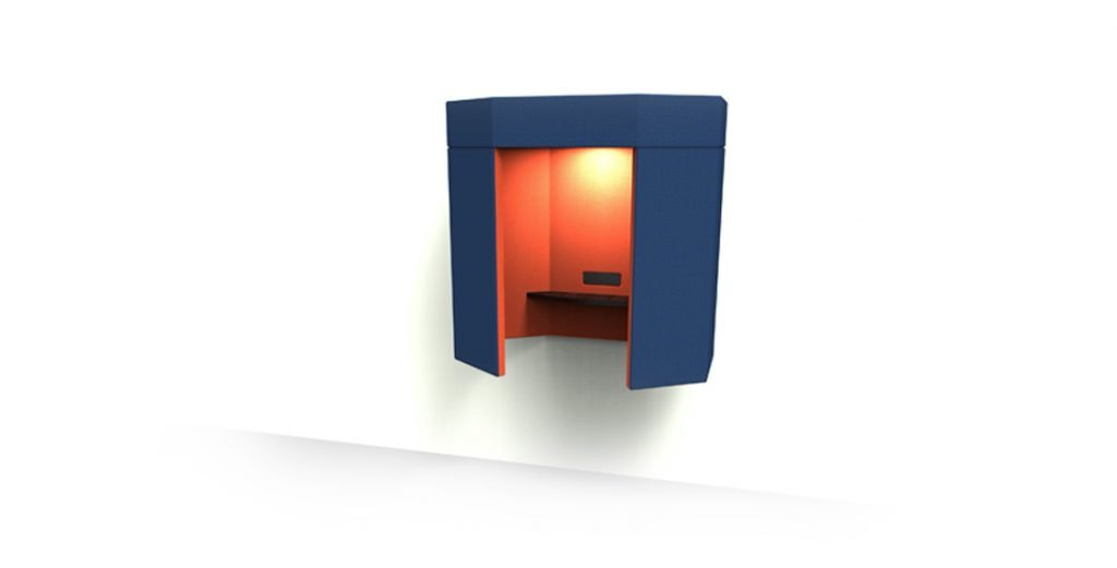 Citrus Seating A private, semi-enclosed phonebooth to stand in - complete with shelf for notes